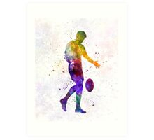 Rugby man player 02 in watercolor Art Print
