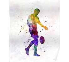 Rugby man player 02 in watercolor Poster
