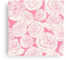 Pattern with pink roses Canvas Print