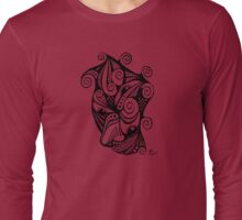 Twisted Multi-Eyed Happy Face with Spirals Long Sleeve T-Shirt