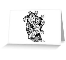 Twisted Multi-Eyed Happy Face with Spirals Greeting Card