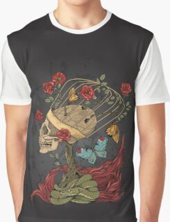 illustration with skull, bush of roses, snake and and flame. grey background Graphic T-Shirt