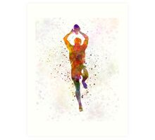 Rugby man player 04 in watercolor Art Print