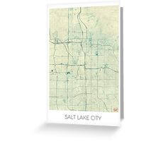 Salt Lake City Map Blue Vintage Greeting Card