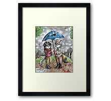 Tiger and Fox - Under the rain Framed Print