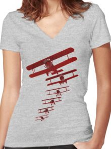 Retro Biplane Graphic Women's Fitted V-Neck T-Shirt