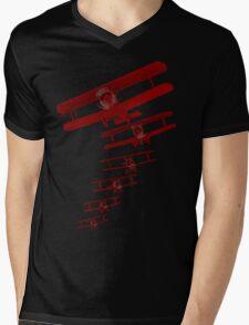 Retro Biplane Graphic Mens V-Neck T-Shirt