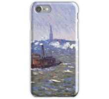 William Glackens - Breezy Day, Tugboats, New York Harbor  iPhone Case/Skin