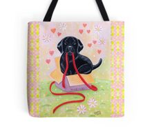 Adorable Black Labrador Ribbon Tote Bag