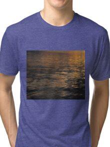 Sunset on Blue Sea Lake Tri-blend T-Shirt