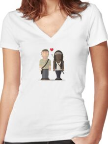 The Walking Dead - Richonne Women's Fitted V-Neck T-Shirt