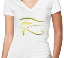 Golden Eye of Horus Women's Fitted V-Neck T-Shirt