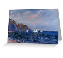 Cliffs and Sailboats at Pourville - Claude Monet Greeting Card