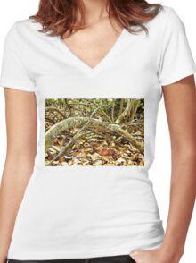 Fallen Grape Leaf Tree Branch Women's Fitted V-Neck T-Shirt