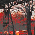 sundown by the pedestrian bridge by Nikolay Semyonov