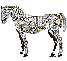 Steampunk Horse - Mechanical Horse Art Print - Gold Photographic Print