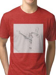 Kicking asian combat monk Tri-blend T-Shirt