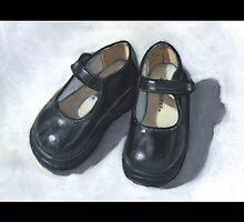 Little Black Shoes: Still Life Painting, Oil Pastel by Joyce Geleynse
