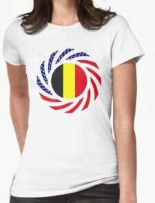 Belgian American Multinational Patriot Flag Series Womens Fitted T-Shirt