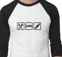 Eat sleep Skateboard Men's Baseball ¾ T-Shirt