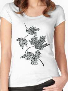 Fall Leaves - Abstract, Tribal Maple Leaves Art Print Women's Fitted Scoop T-Shirt