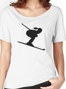 Skiing woman girl Women's Relaxed Fit T-Shirt