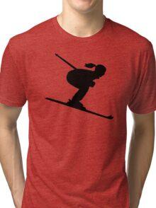 Skiing woman girl Tri-blend T-Shirt