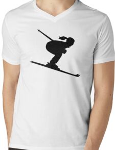 Skiing woman girl Mens V-Neck T-Shirt