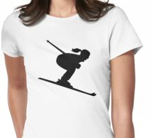 Skiing woman girl Womens Fitted T-Shirt