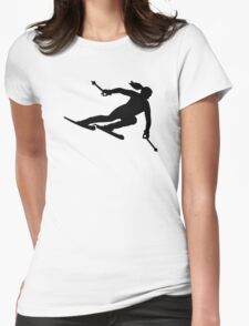 Skiing woman Womens Fitted T-Shirt