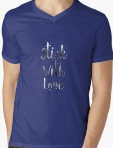 STICK WITH LOVE Mens V-Neck T-Shirt