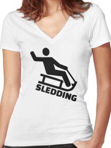 Sledding Women's Fitted V-Neck T-Shirt