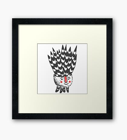 Cute smiling black and white plant  Framed Print