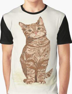 Orange Tabby Cat sitting pet portrait cute cat lady gifts must have pet cat illustrations Graphic T-Shirt
