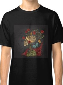 illustration with skull, bush of roses, snake and and flame. grey background Classic T-Shirt