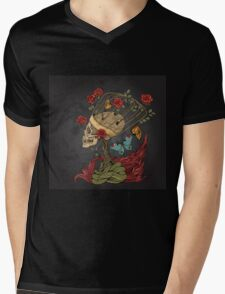 illustration with skull, bush of roses, snake and and flame. grey background Mens V-Neck T-Shirt