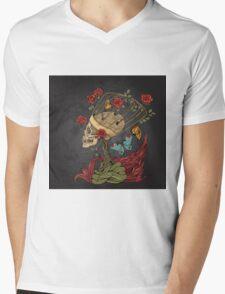 illustration with skull, bush of roses, snake and and flame. grey background Mens V-Neck T-Shirt