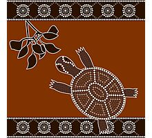 An illustration based on aboriginal style of dot painting depicting turtle Photographic Print