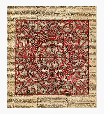 Asian Ornament Mandala Over Old Dictionary Book Page Photographic Print