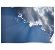 Blue Sky and Sun Rays Poster