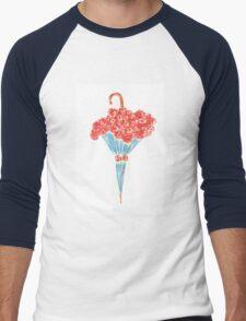 Umbrella full of flowers Men's Baseball ¾ T-Shirt