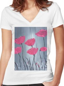 Pink flowers acrylic painting Women's Fitted V-Neck T-Shirt