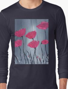 Pink flowers acrylic painting Long Sleeve T-Shirt