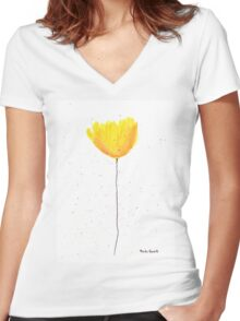 Yellow tulip watercolour Women's Fitted V-Neck T-Shirt