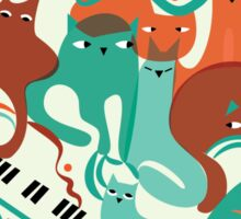 Jazz Cats Blue and Brown Sticker