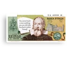 Banca D'Italia Duemila Lire Galileo Currency Note Canvas Print