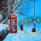 Snowy London red phone box painting by Gordon Bruce by gordonbruce