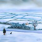 """""""Our view of the house"""" winter landscape by gordonbruce"""