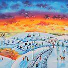 Winter town oil on canvas folk art by gordonbruce