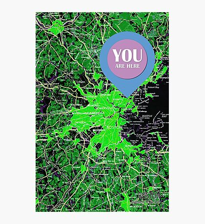 You are here, Boston old map Photographic Print